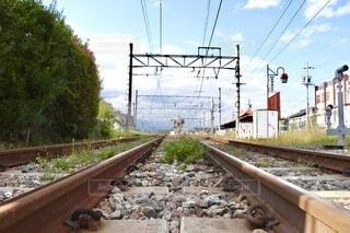 田舎風景〜空と線路〜の写真・画像素材[3829084]