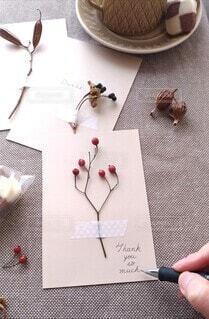 植物を使ったメッセージカードの写真・画像素材[4042075]