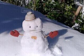雪だるまと手袋の写真・画像素材[4075595]
