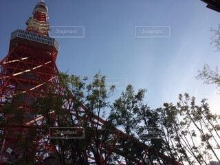 下から見上げる東京タワーの写真・画像素材[3823002]