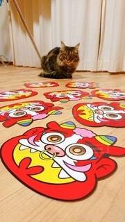 テーブルの上に座っている猫の写真・画像素材[4116952]