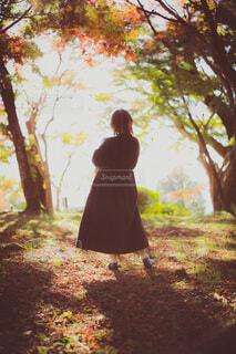 紅葉の見える森で後ろを向いて赤ちゃんを抱く女性の写真・画像素材[3910993]