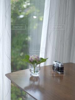 一輪挿しの紫陽花の写真・画像素材[4312674]