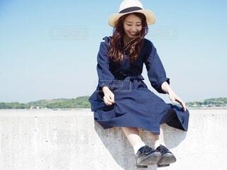 麦わら帽子の女の子の写真・画像素材[3852482]