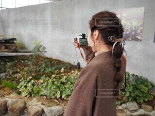 カメラ女子の写真・画像素材[3853238]