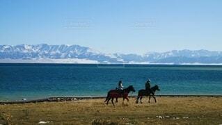 ビーチで馬に乗る人の写真・画像素材[3855902]