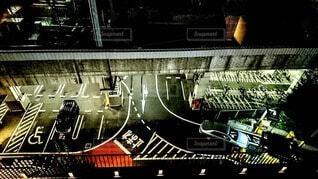 上から見た駐車場の写真・画像素材[3884348]