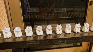 カウンターの上の10体の招き猫たちの写真・画像素材[3972992]