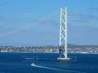 空,橋,屋外,湖,青空,船,水面,ブルー,吊り橋,淡路島,明石海峡大橋,水上バイク,固定リンク