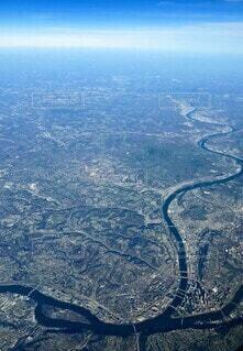 ピッツバーグの川の合流点を上空からの写真・画像素材[3899203]
