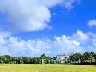 アメリカの広い裏庭と豪邸、青空と芝生のコントラストの写真・画像素材[3916965]