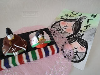 春,イラスト,手作り,ひな祭り,ひな飾り,筆,遊び心,卓上,絵手紙
