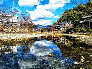地方都市の河の写真・画像素材[3944395]