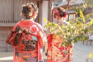 振袖で初詣に行く女性の写真・画像素材[4034215]