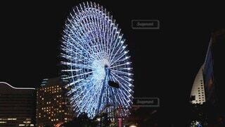 空,夜,夜景,観覧車,横浜,明るい,みなとみらい,東京オリンピック,景観