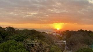空,朝日,雲,山,日の出,新年,1月,2021