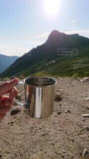 早朝の登山で飲むコーヒーは格別の写真・画像素材[3901295]