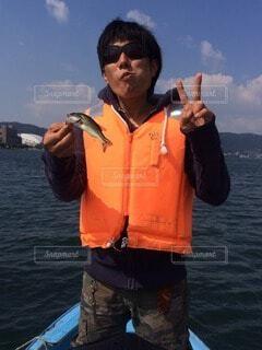 琵琶湖で初めてのボートでバス釣りの写真・画像素材[3909275]