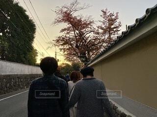 旅の途中の夕焼け空と家族の後ろ姿の写真・画像素材[3928711]
