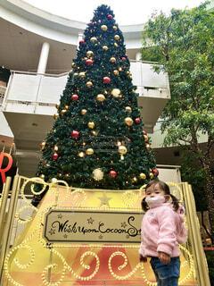 クリスマスツリーの前での写真・画像素材[3958974]