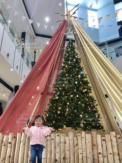 クリスマスツリーと娘の写真・画像素材[3976432]