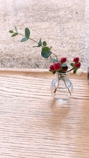 木製のテーブルの上の植物の写真・画像素材[3964057]