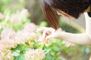 花を持っている人の写真・画像素材[4317569]