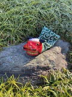 岩の上の獅子舞の写真・画像素材[4004302]