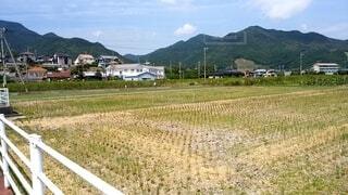 背景に山がある田んぼの写真・画像素材[4018375]