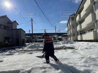 空,冬,雪,屋外,子供,運動,ウィンタースポーツ,雪かき