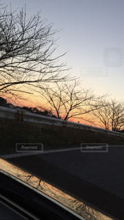 空,夕日,車,癒し,写し絵