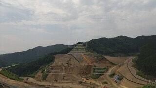 自然,風景,空,屋外,雲,山,ダム,建設中,ダム建設,南摩ダム