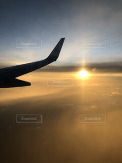 空,屋外,飛行機,シルエット,夕陽