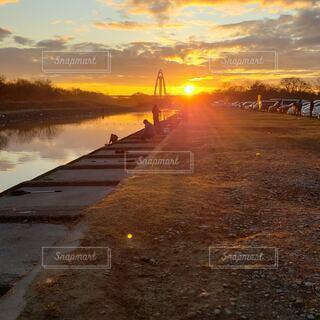 自然,朝日,雲,川,正月,お正月,日の出,新年,初日の出