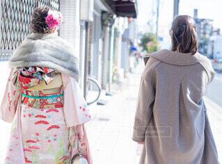 冬,イベント,和服,お祝い,晴れ着,姉妹,振袖,成人式,和装,行事,成人の日