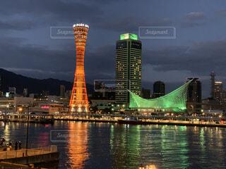 神戸メリケンパークの夜景の写真・画像素材[3987538]