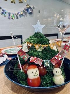 ブロッコリーのクリスマスツリーの写真・画像素材[4002804]
