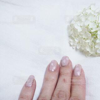 ピンクとホワイトの水玉ネイルの写真・画像素材[4546833]