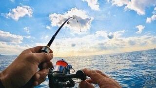 七里ヶ浜沖て、supフィッシングの写真・画像素材[4009536]