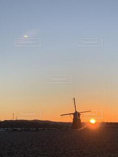 空,朝日,風車,正月,お正月,日の出,新年,初日の出