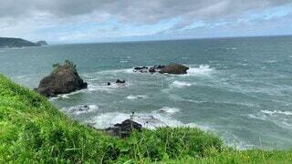 自然,風景,海,空,屋外,ビーチ,雲,波,水面,海岸,景色,草,岩,崖,風,岬,暴風,暴風域