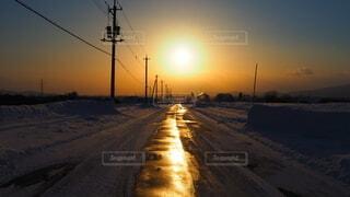 自然,空,冬,雪,太陽,雲,夕暮れ,道路,街路灯