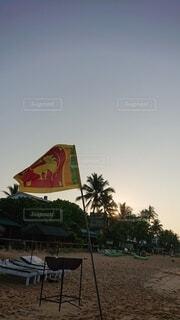 朝日,ビーチ,朝焼け,正月,お正月,日の出,新年,初日の出,スリランカ,フラグ,ヒッカドゥア