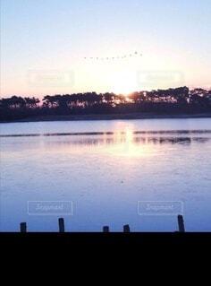 自然,風景,空,鳥,屋外,湖,朝日,川,水面,正月,お正月,日の出,新年,初日の出