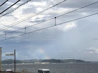 空,屋外,雲,虹,電線,景観,日中