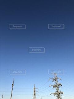 風景,空,屋外,青い空,電線,日中
