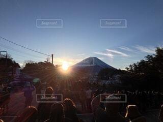 風景,空,富士山,群衆,屋外,山,人,日の出,明るい,初日の出