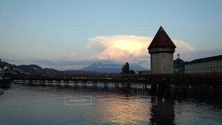 自然,風景,橋,屋外,湖,夕暮れ,水面,景色,旅行