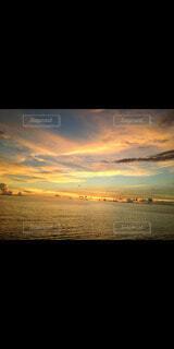 海,空,雲,夕暮れ,サンセット