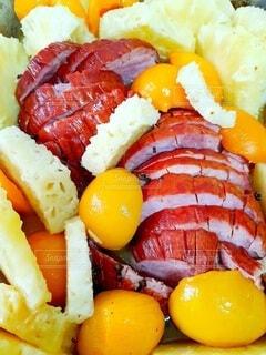 食べ物,果物,パイナップル,ハム,肉,おいしい,桃